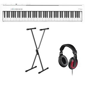 Roland FP-30X Vit Digital Piano + Stativ (SKS 01) + Hörlurar (Hama)